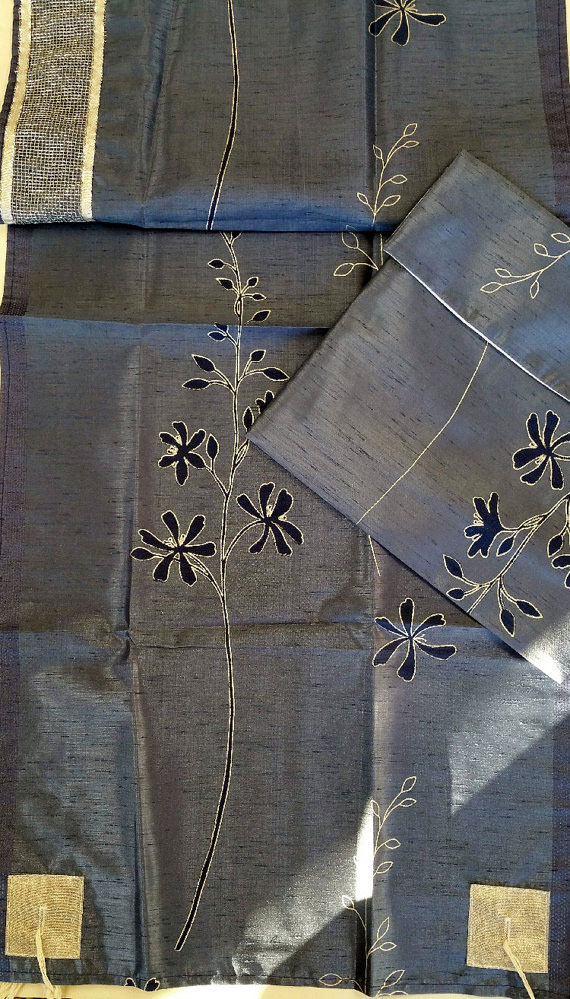 Vintage Silk Tallis In Navy Blue And Silver