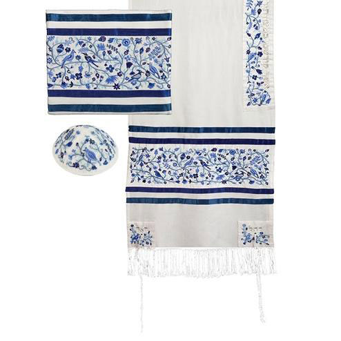 Yair Emanuel Embroidered Raw Silk Tallit With Birds And Flowers Design