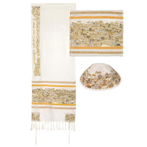 Yair Emanuel Fully Embroidered Cotton Jerusalem Tallit Set White Gold