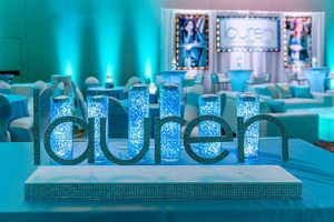 Bat Mitzvah Candle Lighting Display With Aqua Gem Cylinders Glittered Name