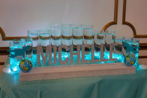 Led Candle Lighting Cylinders With Custom Name Base For Travel Themed Bat Mitzvah