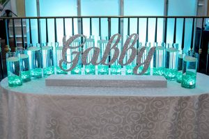 Led Candle Lighting Display With Custom Glittered Name & Cylinders With Floating Candles