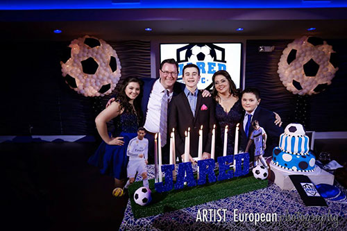 Bar Bat Mitzvah Candle Lighting Ceremony Order Soccer Themed Display With Glittered Name