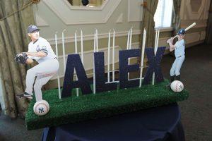 Yankees Baseball Themed Bar Mitzvah Candle Lighting Centerpiece