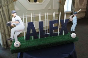 Yankees Baseball Themed Bar Mitzvah Candle Lighting Centerpiece