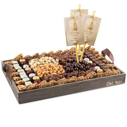 Rosh Hashanah Wooden Gift Tray Xl