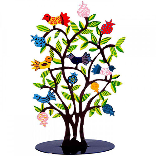 Yair Emanuel Laser Cut Pomegranate Tree With Birds Brown