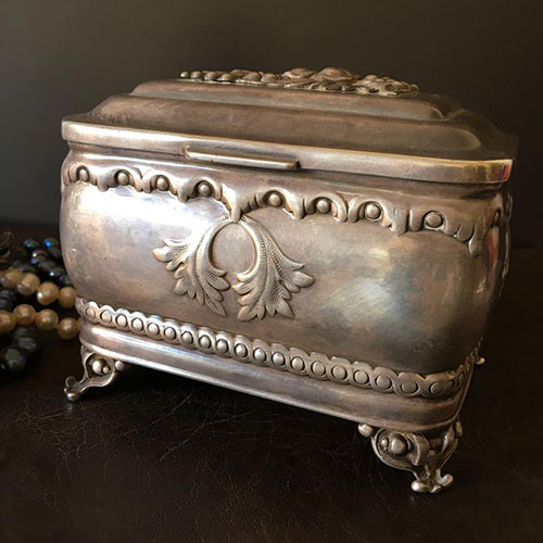 Antique Jewelry Fraget Warszawa Silver Plated Etrog Box
