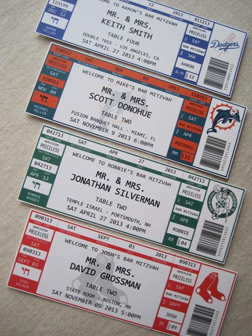 Bar Mitzvah Sports Escort Cards