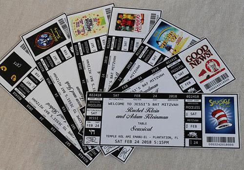 Bat Mitzvah Broadway Show Escort Cards