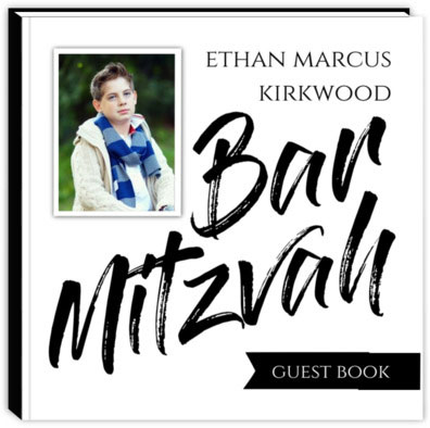 Black White Typography Bar Mitzvah Guest Book