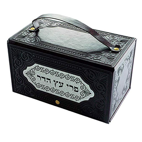 Faux Leather Esrog Box With Handle And Decorative Metal Plaque