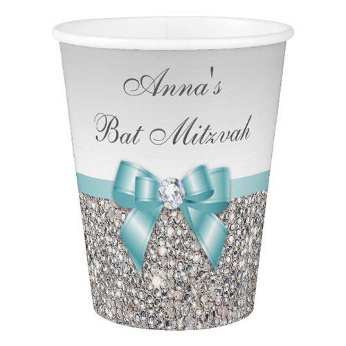 Faux Teal Bow Silver Sequins Bat Mitzvah Paper Cup