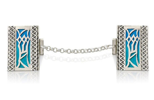 Nadav Art Shin Sterling Silver Tallit Clips + Blue Enamel