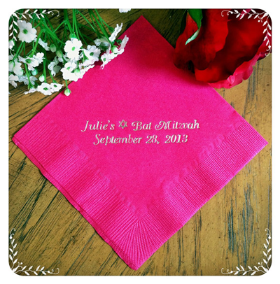 Personalized Napkins For Bat Mitzvah