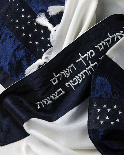 Star Of David Laser Cut Tallit In Midnight Navy