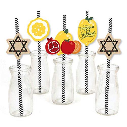 Sukkah Striped Decorative Straws