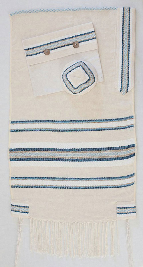 Woven Bar Mitzvah Cotton Tallit For Boy