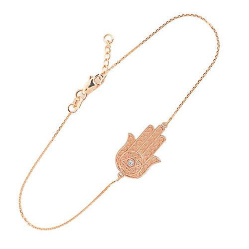 14k Rose Gold Diamond Star Of David Hamsa Charm Bracelet