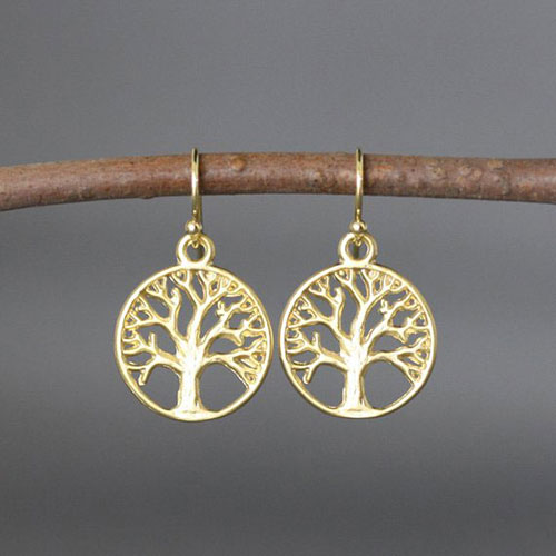 Gold Tree Of Life Earrings For Bat Mitzvah