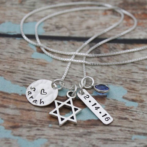Personalized Bat Mitzvah Necklace With Name, Date & Birthstone