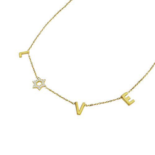 Yellow Gold Love Star Of David Necklace For Bat Mitzvah
