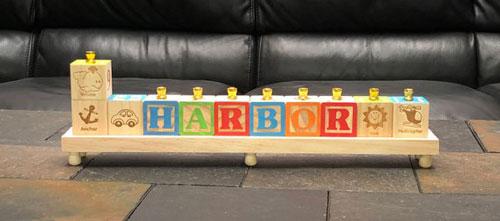 Childrens Alphabet Personalized Block Menorah