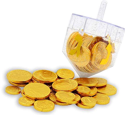 Dreidel Filled With Hanukkah Chocolate Gelt Coins