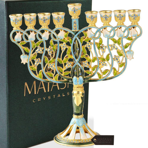 Hand Painted Menorah Candelabra Embellished Intertwining Flowers Design 24kgold Blue Crystals