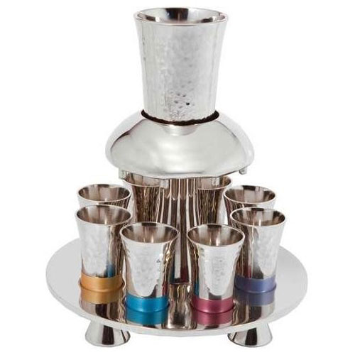 Yair Emanuel Anodized Aluminum 8 Piece Textured Fountain Kiddush Set
