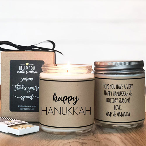 Personalized Happy Hanukkah Candle