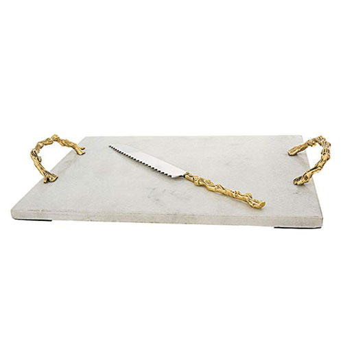 Classic Touch Decor White Marble Challah Tray With Wooden Design Handles