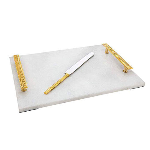 Godinger White Marble Challah Board With Knife