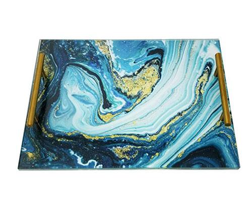 Marble Acrylic Challah Board Blue Agate