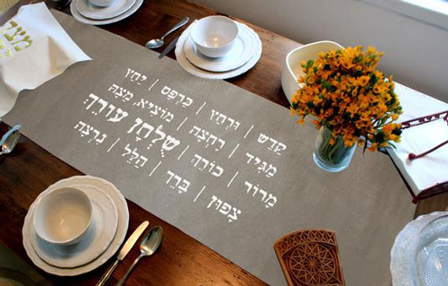 Passover Seder Signs Table Runner
