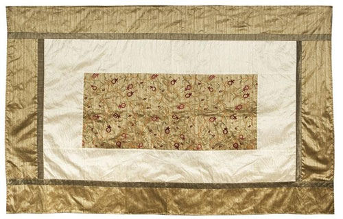 Pomegranates Yair Emanuel Giant Deluxe Embroidered Festive Table Cloth Gold