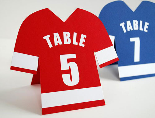 Sports Jersey Table Numbers