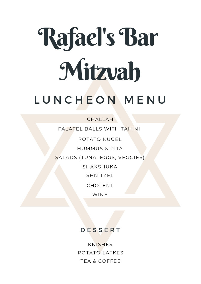 Bar Bat Mitzvah Luncheon Menu