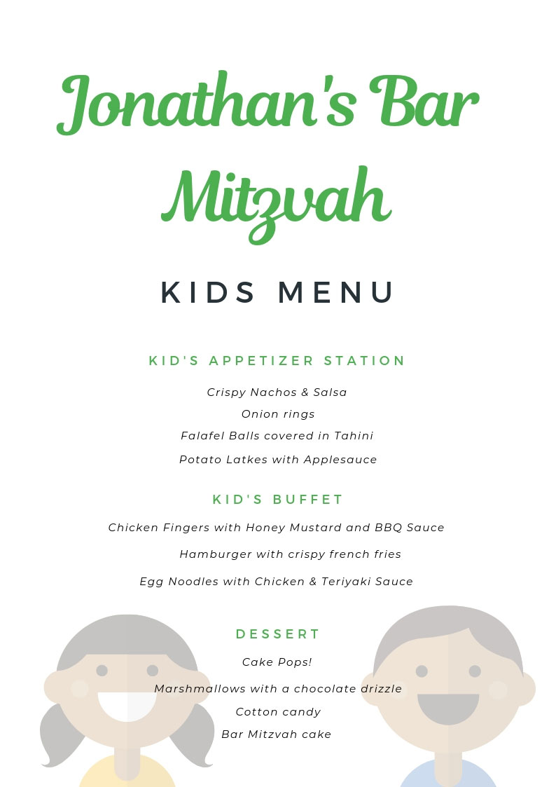 Bar Mitzvah Kids Menu
