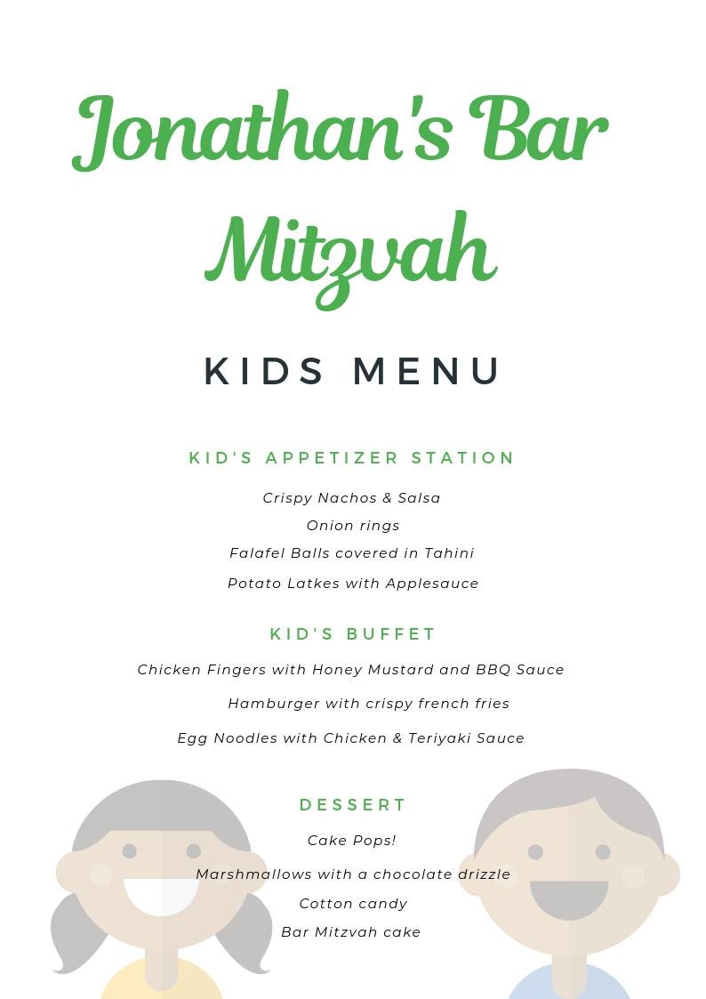 Bar Mitzvah Kids Menu