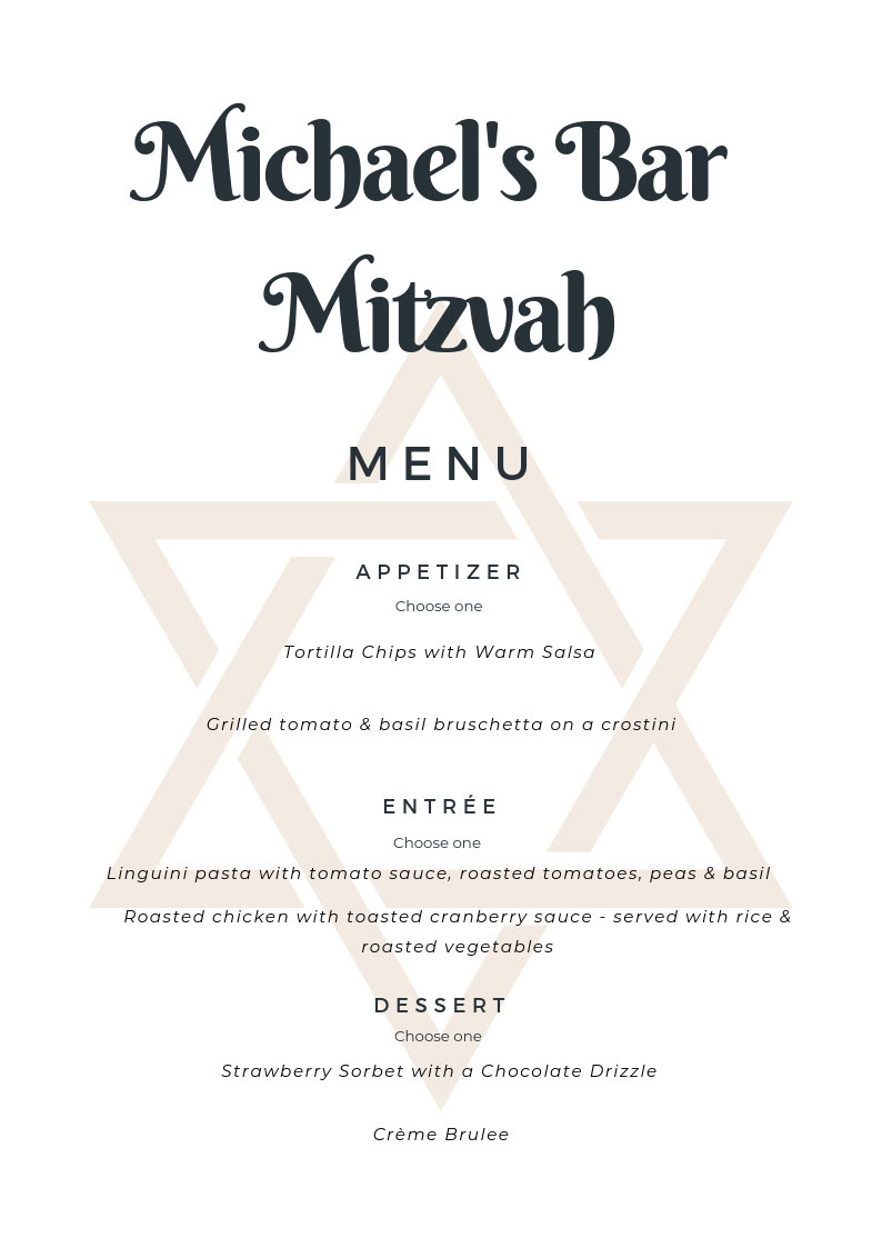 Bar Mitzvah Menu
