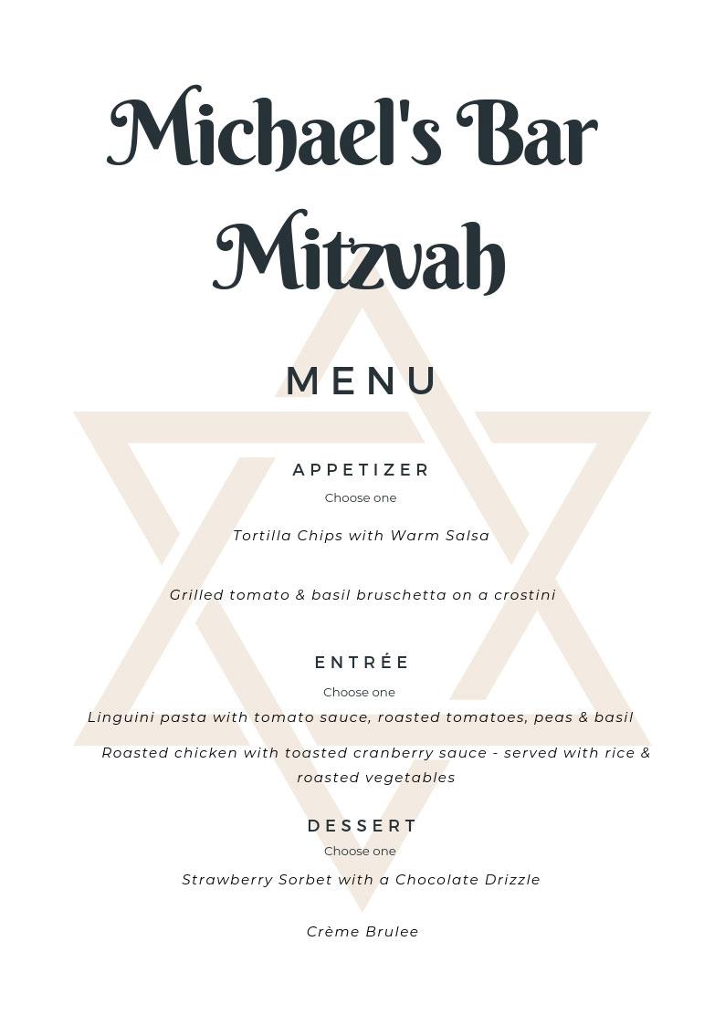 Bar Mitzvah Menu