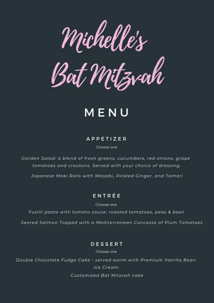 Bat Mitzvah Menu