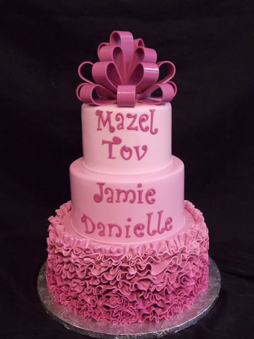 Bat Mitzvah Ombre Radiant Orchid Cake