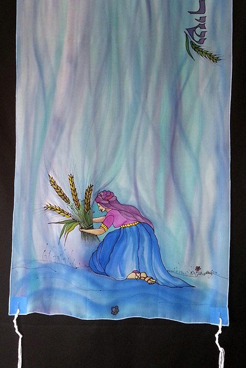 Ruth Tallit Prayer Shawl Hand Painted Silk
