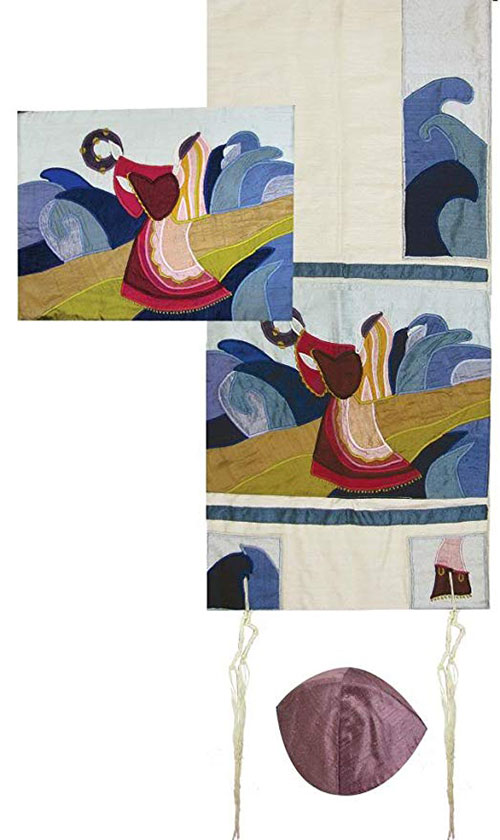 Yair Emanuel Embroidered Raw Silk Tallit Set Miriam And The Drum