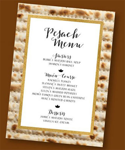 Customized Printable Passover Menu