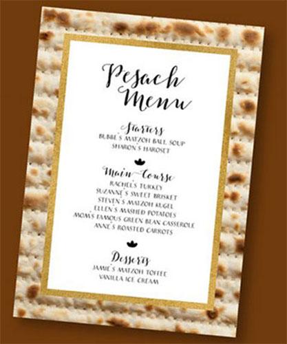 Customized Printable Passover Menu
