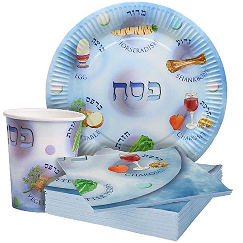 Disposable Passover Paper Plates, Cups & Napkins