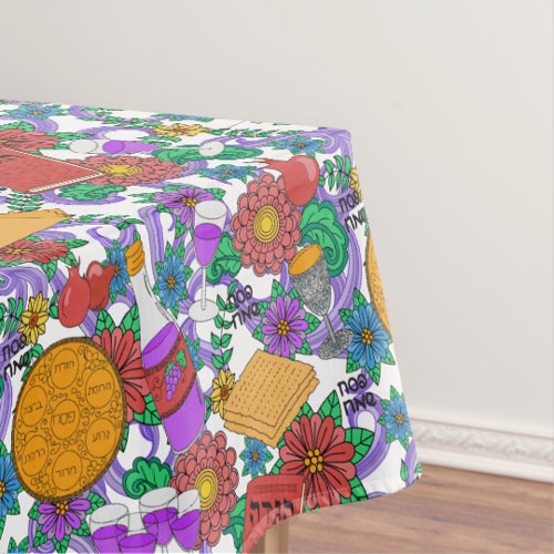 Hand Drawn Illustrated Passover Tablecloth